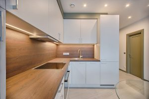 White Wooden Modular Kitchen- Kitchen Fitters Swansea